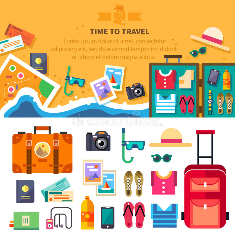 Hora de viajar, férias de verão, resto da praia ilustração royalty free