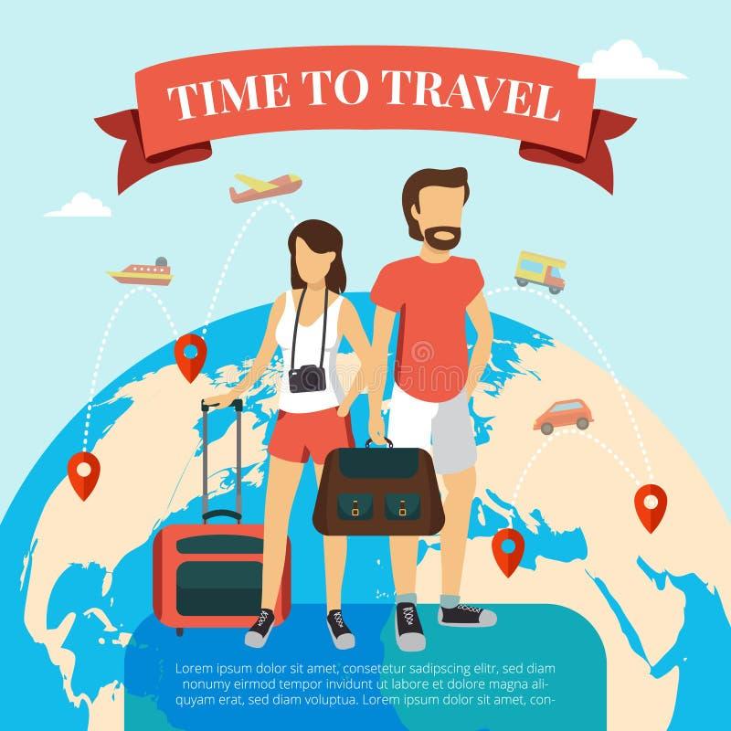 Hora de viajar horizontalmente ilustração stock