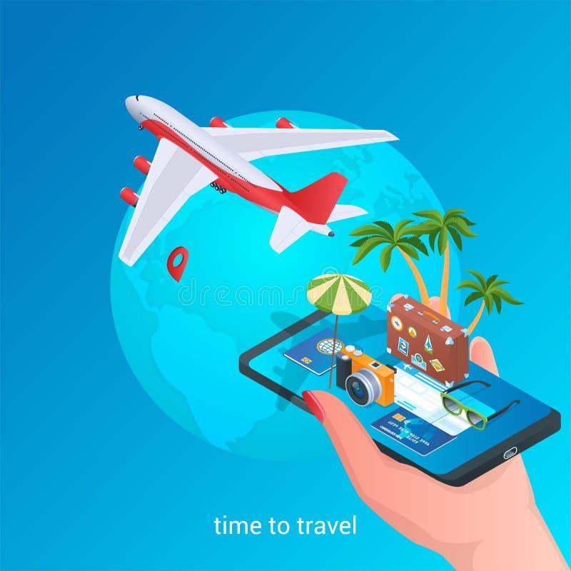 Hora de viajar iconos isométricos 02 stock de ilustración