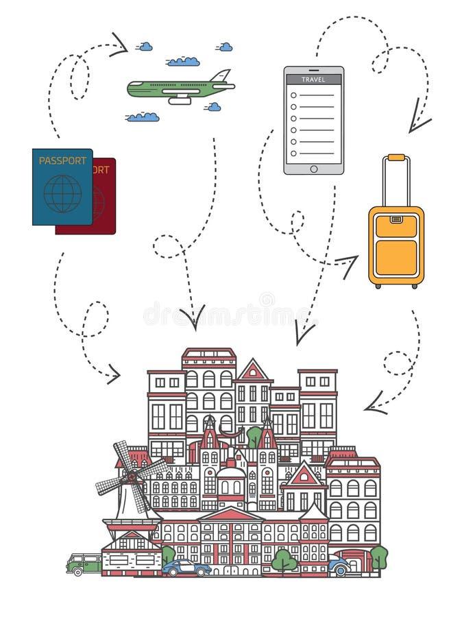 Hora de viajar infographics en estilo linear stock de ilustración