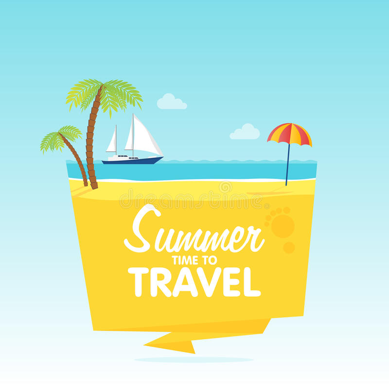 Hora de viajar, las vacaciones de verano, Vector el fondo plano y se oponen el tamplate de las insignias de los ejemplos ilustración del vector