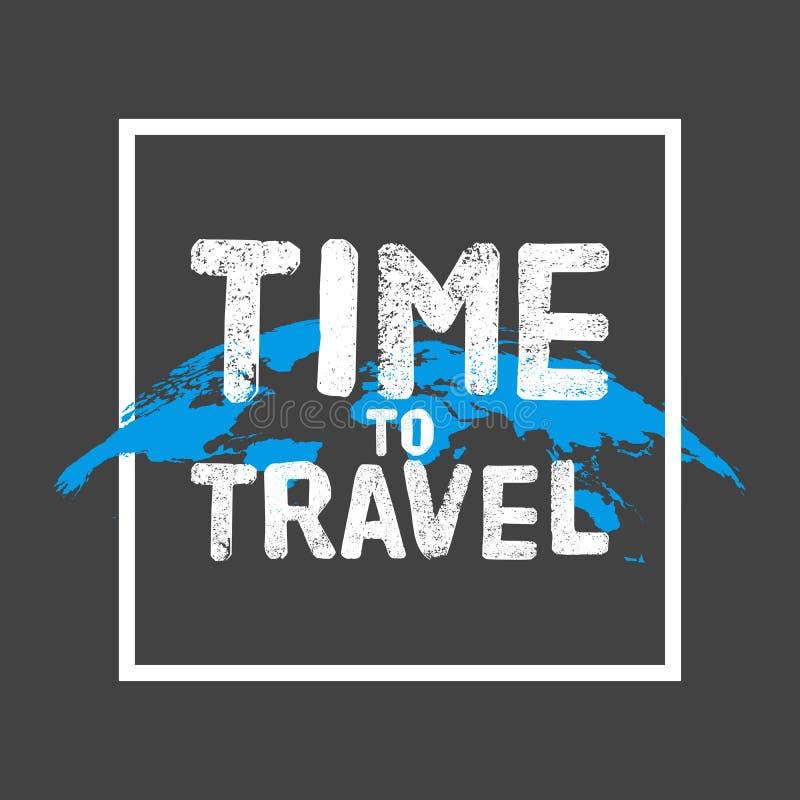 Hora de viajar letras Cartel del concepto Trace el fondo del globo con el marco blanco en negro gris Ilustración del vector ilustración del vector