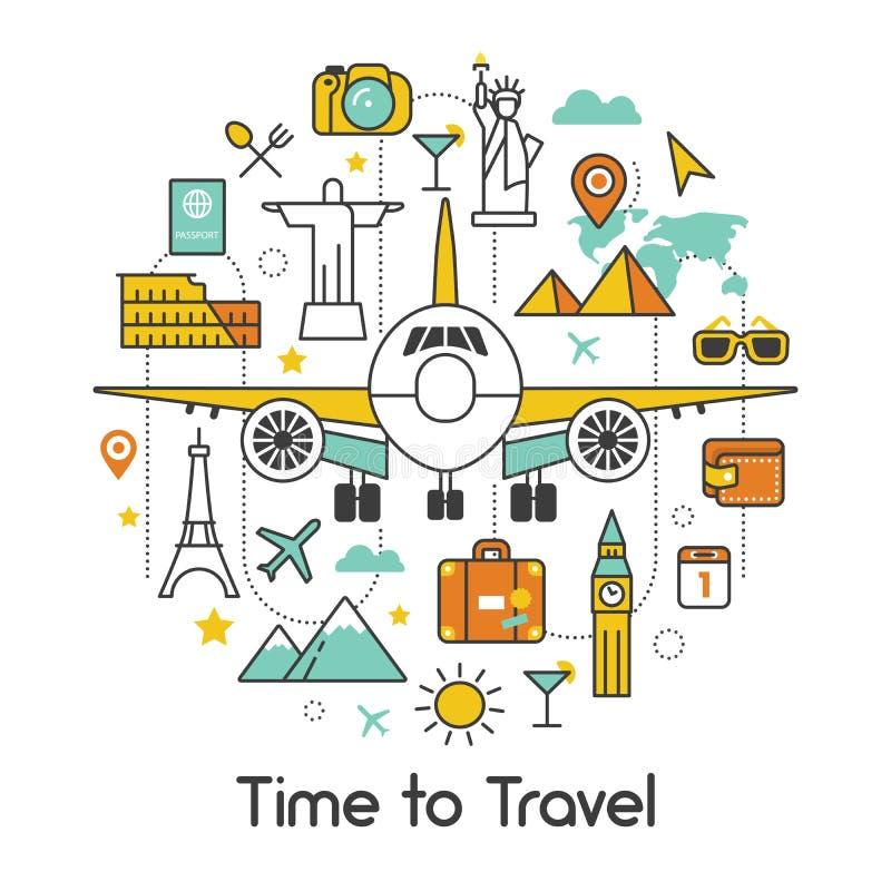 Hora de viajar pela linha plana Art Thin Icons ilustração do vetor