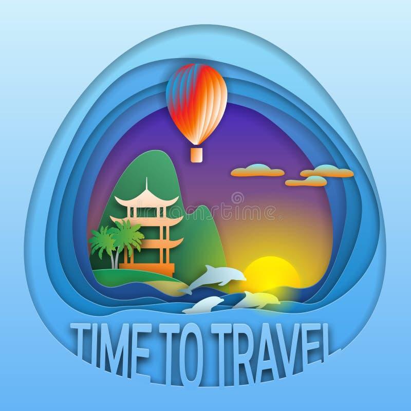 Hora de viajar plantilla del emblema Puesta del sol con el globo, los delfínes, la pagoda cerca de la montaña y las palmeras del  ilustración del vector