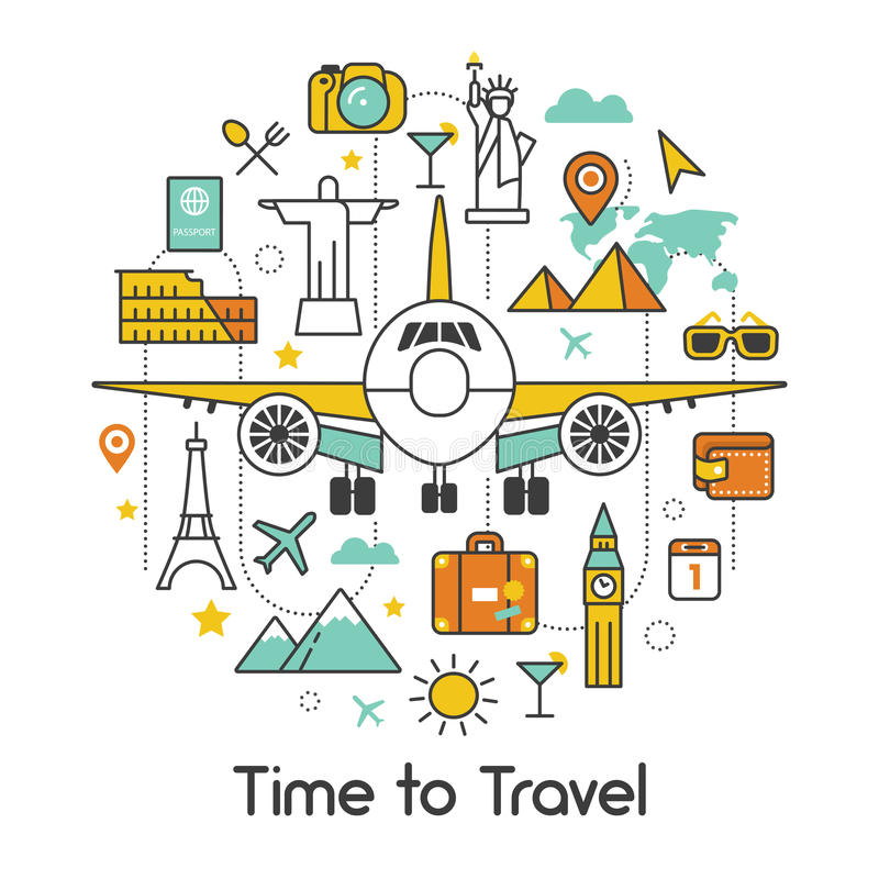 Hora de viajar por la línea plana Art Thin Icons ilustración del vector