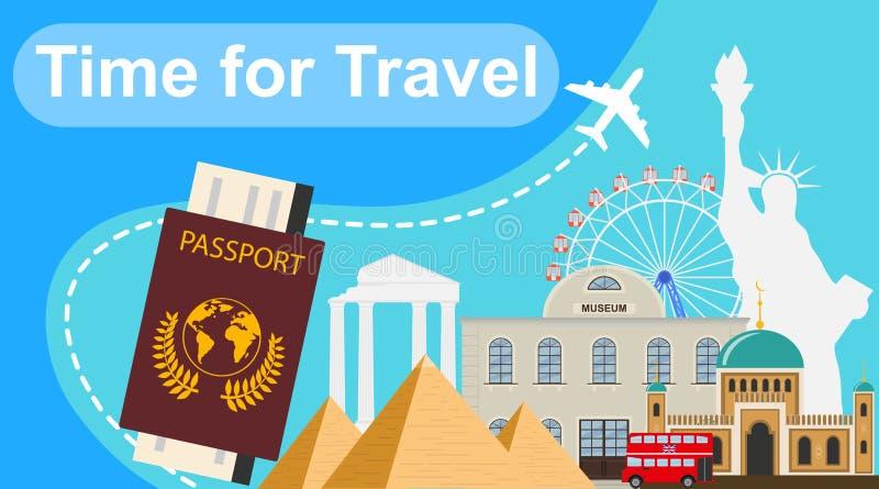 Hora de viajar Tiempo de la bandera para viajar con las diversas señales Ejemplo del vector del viaje libre illustration