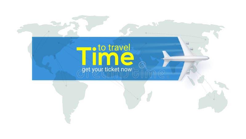 Hora de viajar Transporte a?reo entre pa?ses e continentes Rotas de voo dos avi?es, linhas tracejadas de trilha ilustração do vetor