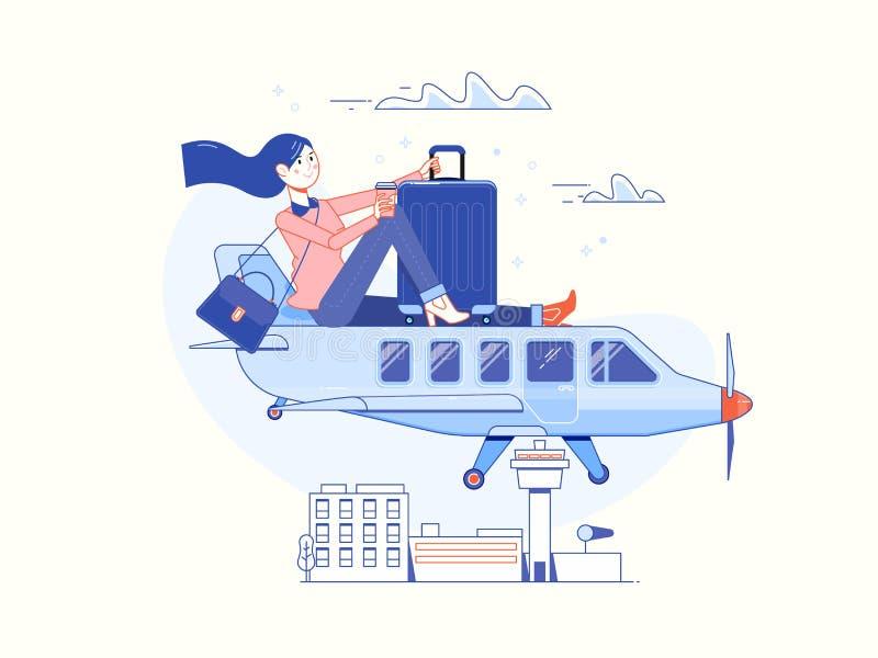 Hora de viajar y vacaciones de verano Cartel de la plantilla del aeroplano que viaja, insignia, ejemplo del vector libre illustration
