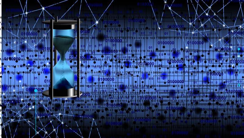 Hora del tiempo del reloj de arena aislada con el fondo de la tecnología ilustración del vector