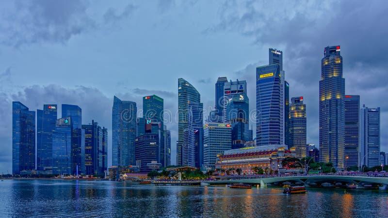 Hora do centro do azul de Singapura fotos de stock royalty free