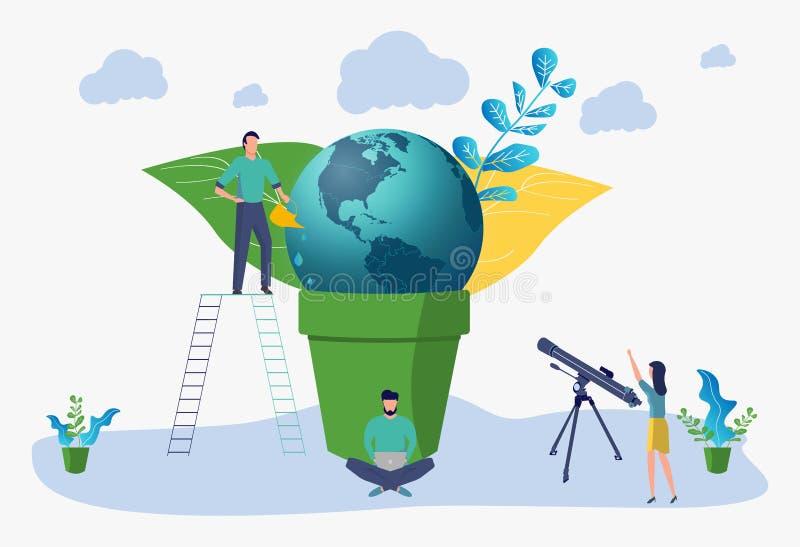 Hora do Dia da Terra, planeta verde Salvar o planeta Ilustra??o lisa do vetor ilustração do vetor