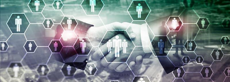 Hora, estrutura de recursos humanos, de recrutamento, de organização e conceito social da rede imagens de stock royalty free