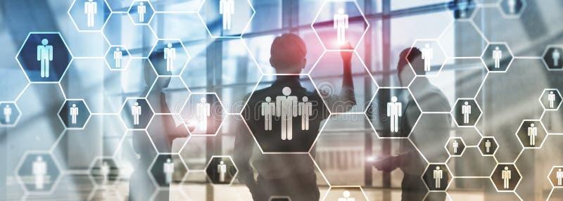 Hora, estrutura de recursos humanos, de recrutamento, de organização e rede social ilustração stock