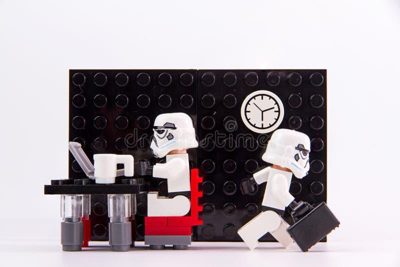 Hora laborable de las Guerras de las Galaxias de Lego foto de archivo