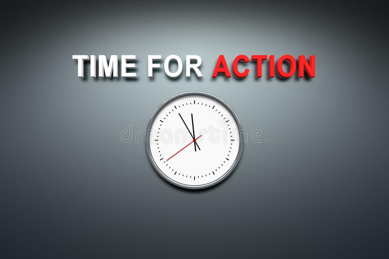 Hora para a ação na parede ilustração do vetor