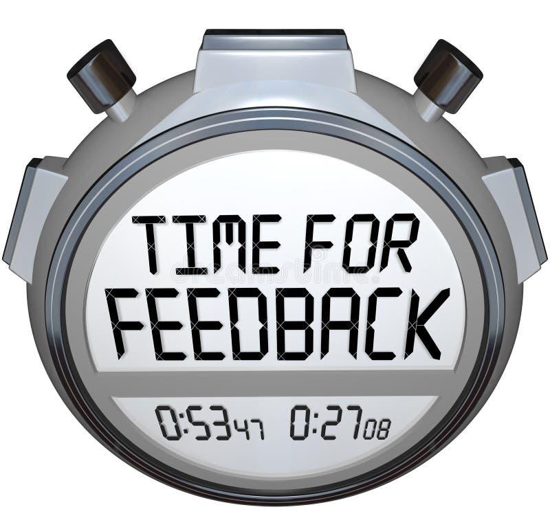 Hora para comentários procurando do temporizador do cronômetro das palavras do feedback ilustração do vetor