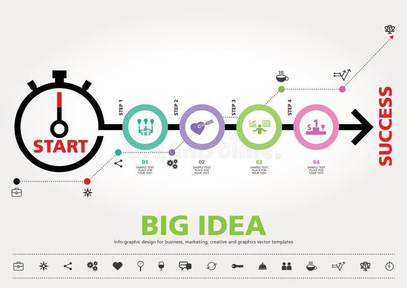 Hora para el éxito, diseño gráfico de la información moderna de la plantilla ilustración del vector