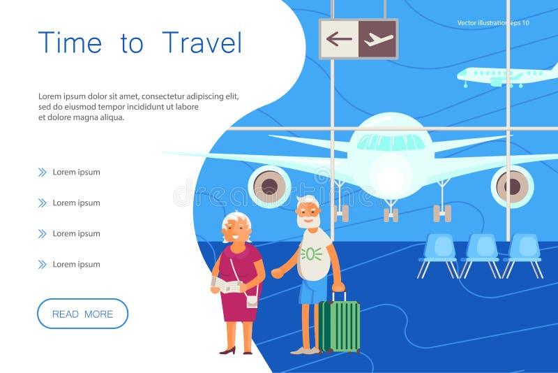Hora para el aterrizaje del viaje Viajeros mayores libre illustration