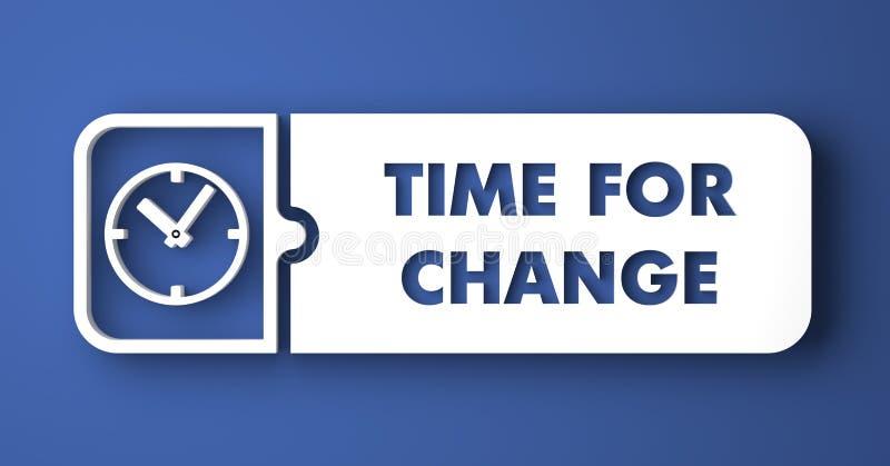 Hora para el cambio en azul en estilo plano del diseño. stock de ilustración