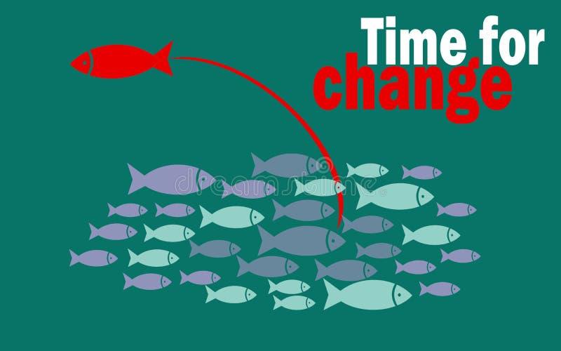 Hora para el concepto del éxito del cambio con el pequeño grupo de los pescados ilustración del vector