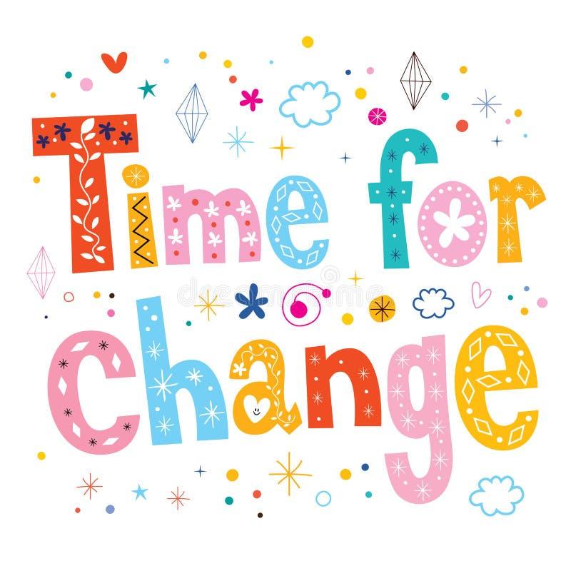 Hora para el diseño del texto de las letras de la tipografía del cambio stock de ilustración