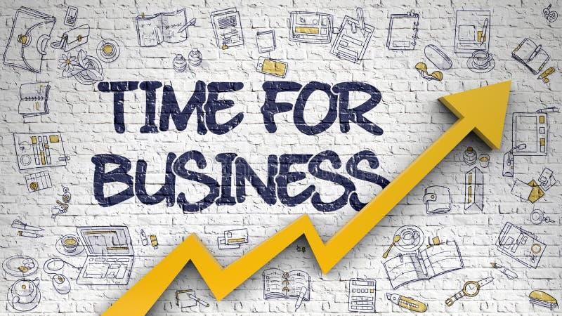 Hora para el negocio dibujado en Brickwall blanco 3d stock de ilustración