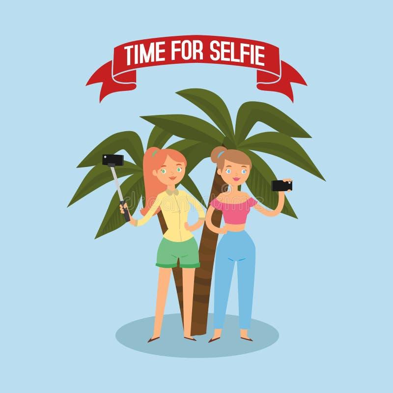Hora para el selfie Muchachas que hablan la foto con el ejemplo plano del vector de la bandera del palillo Concepto de las vacaci ilustración del vector