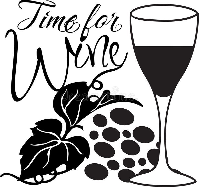 Hora para el vino stock de ilustración