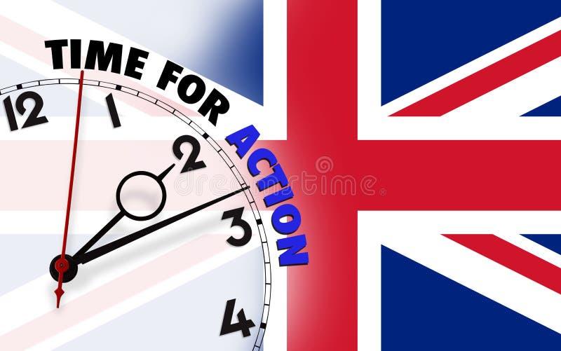 Hora para la acción contra fondo señalado por medio de una bandera BRITÁNICO fotos de archivo