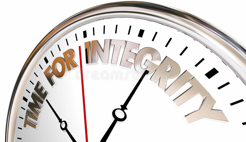 Hora para la reputación de la confianza de la honradez del reloj de la integridad stock de ilustración