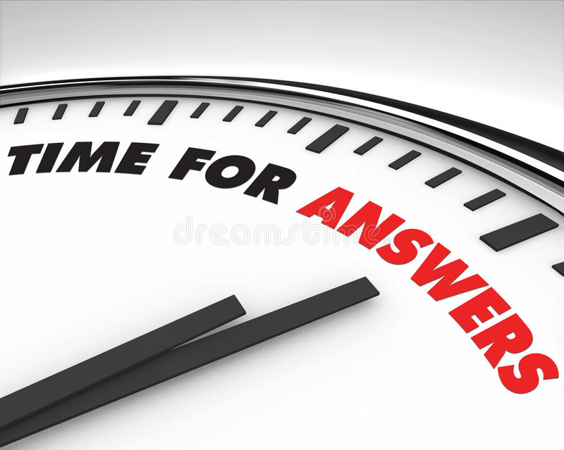 Hora para las respuestas - reloj stock de ilustración