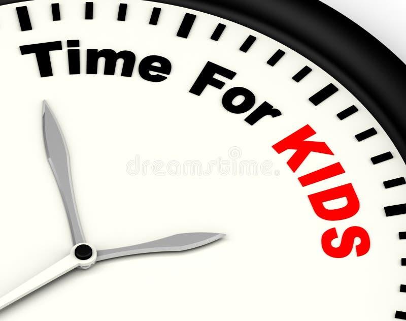 A hora para a mensagem de Kiids significa o recreio ou família começar ilustração do vetor