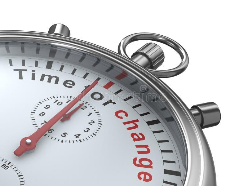 Hora para a mudança. Cronômetro no fundo branco ilustração do vetor
