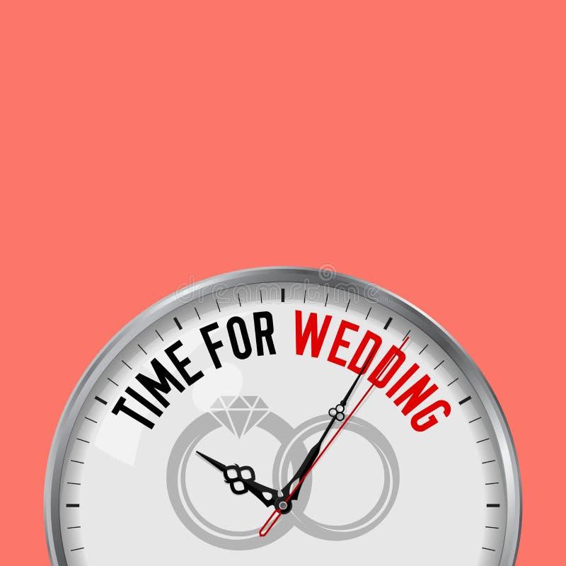 Hora para o casamento Pulso de disparo branco do vetor com slogan inspirador Relógio análogo do metal com vidro Ícone das aliança ilustração royalty free