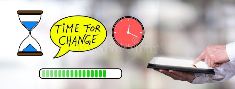 Hora para o conceito da mudança com o homem que usa uma tabuleta imagem de stock royalty free