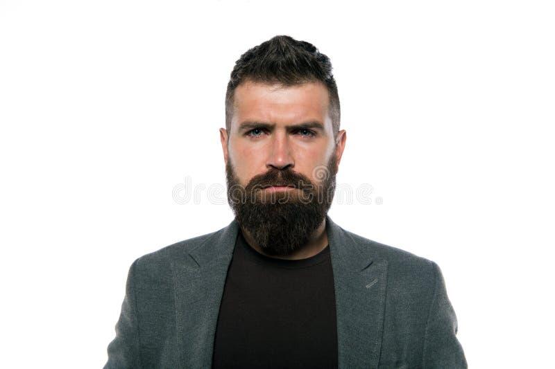 Hora para o corte de cabelo novo Homem farpado Homem brutal seguro e considerável Obtendo o corte de cabelo da barba pelo cabelei fotos de stock royalty free