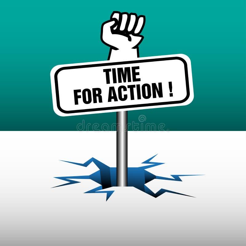 Hora para a placa da ação ilustração stock