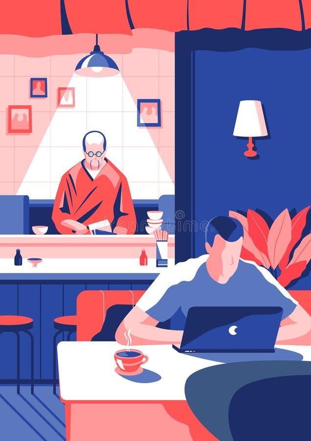 Hora para un café Ejemplo del arte stock de ilustración