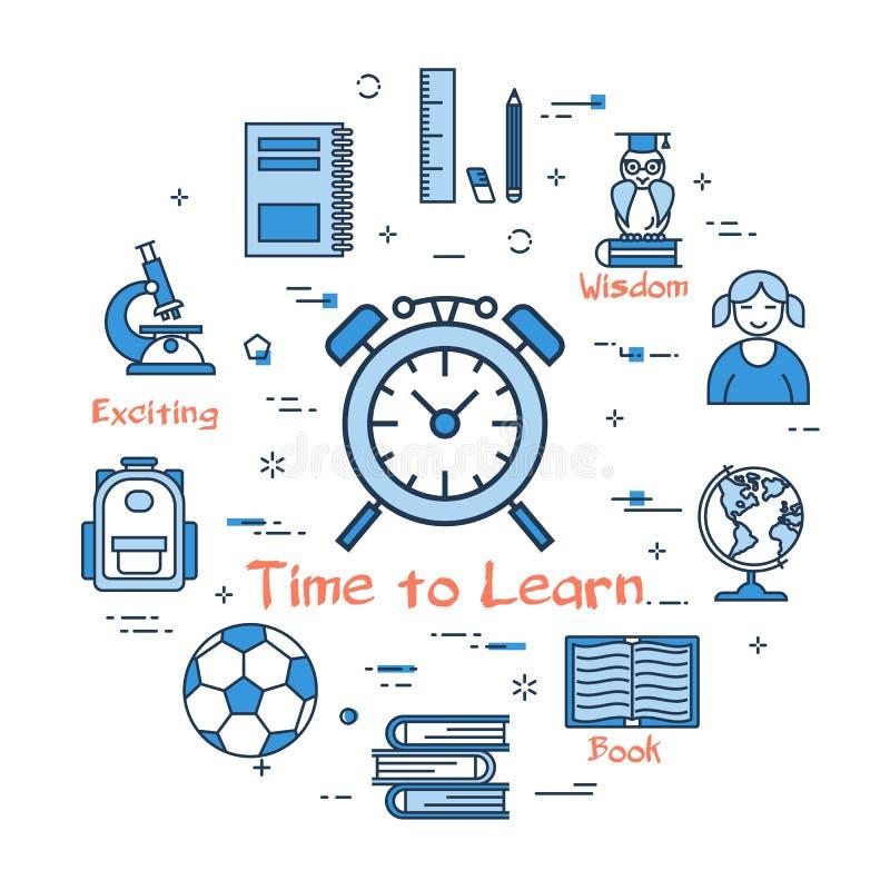 Hora redonda azul de aprender concepto stock de ilustración