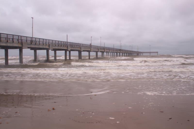 Horace Caldwell Pier dans le port Aransas le Texas photos stock