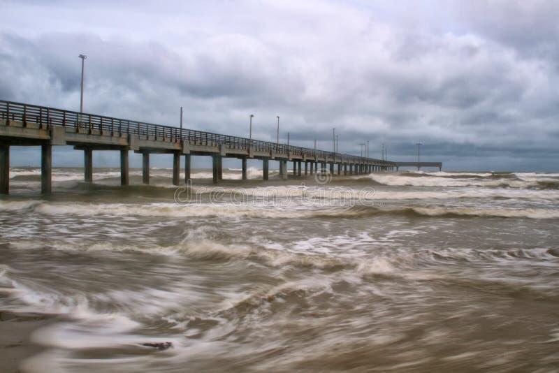 Horace Caldwell Pier dans le port Aransas le Texas photo libre de droits