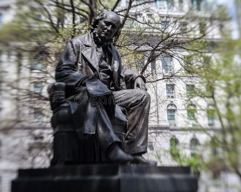 Horace Greeley City Hall Park New York fotografia stock libera da diritti