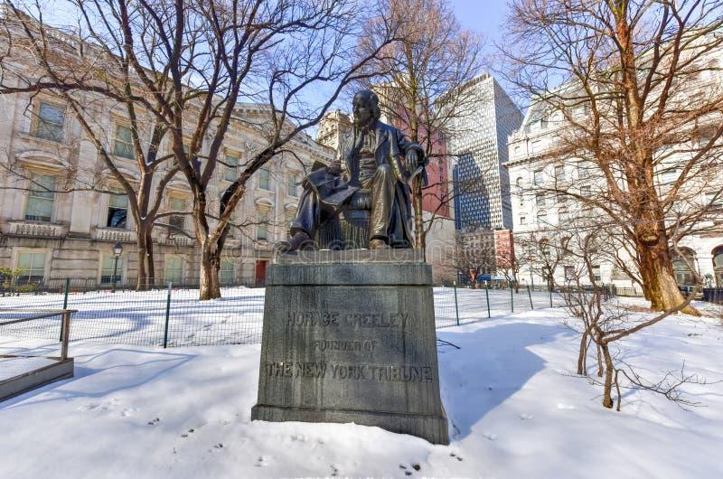Horace Greeley pomnik, Miasto Nowy Jork obraz royalty free