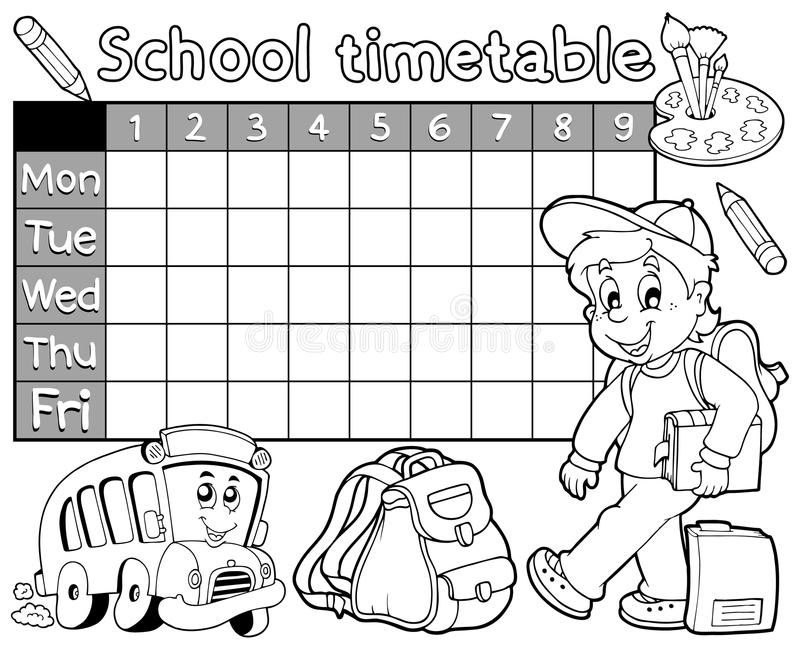 Horaire 1 d 39 cole de livre de coloriage illustration de for Ecole de dessin bayonne