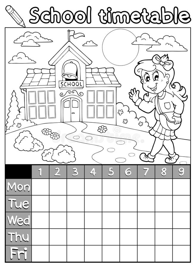 Horaire 9 Décole De Livre De Coloriage Illustration De