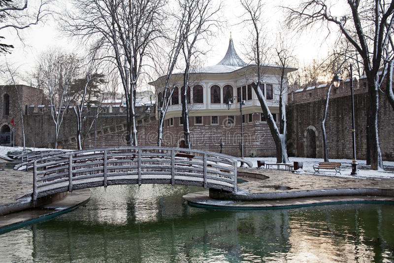Horaire d'hiver au parc de Gulhane, Istanbul photo libre de droits