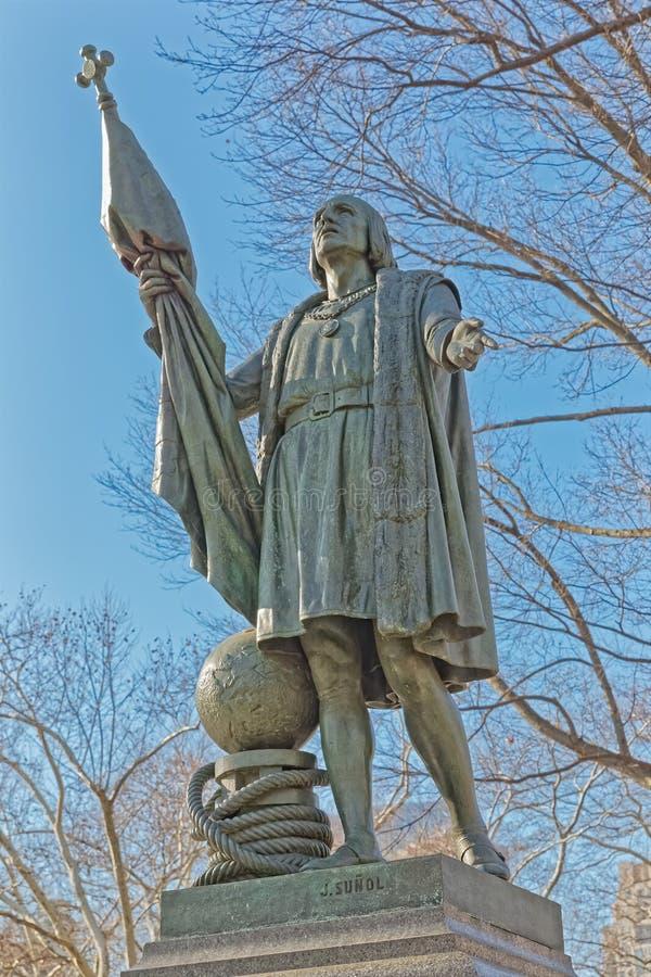 Horaire d'hiver de sculpture en bronze de Columbus de Central Park de New York image libre de droits
