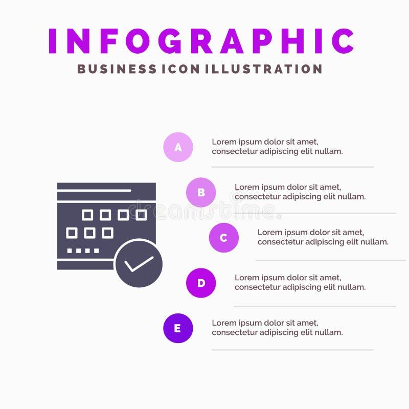 Horario, aprobado, negocio, calendario, acontecimiento, plan, fondo sólido de la presentación de los pasos de Infographics 5 del  ilustración del vector