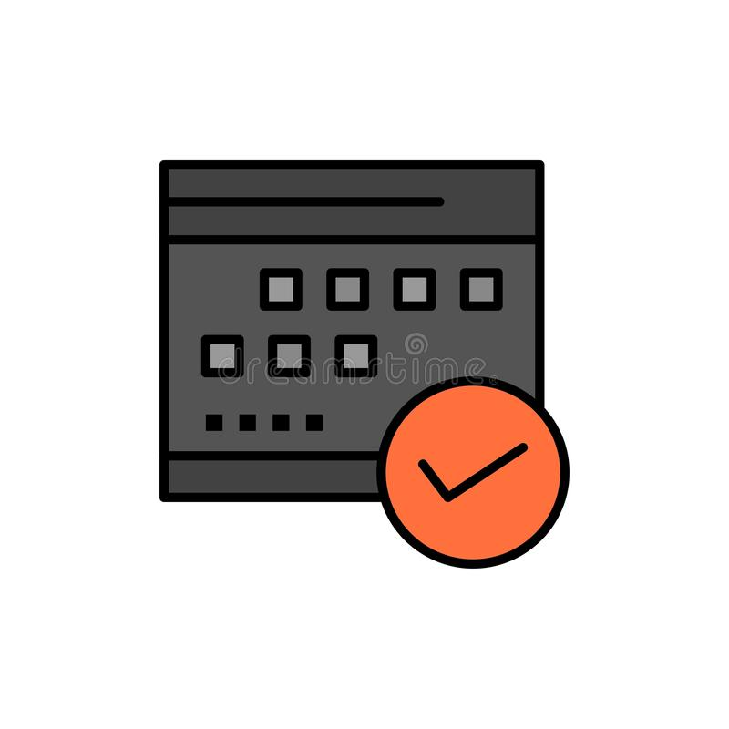 Horario, aprobado, negocio, calendario, acontecimiento, plan, icono plano de planificación del color Plantilla de la bandera del  stock de ilustración
