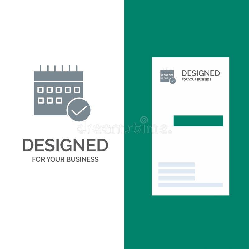 Horario, aprobado, negocio, calendario, acontecimiento, plan, planeamiento Grey Logo Design y plantilla de la tarjeta de visita stock de ilustración